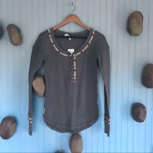 Free People Grey Thermal Shirt Embroidery …